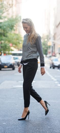 black and white mixed herringbone and houndstooth silk sweatshirt, white oxford button down + pleated track pants  |  http://www.theclassycubicle.com/2014/10/on-track.html
