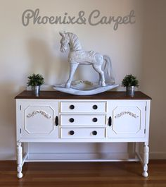 Gorgeous Buffet restored with Custom white Annie Sloan Chalk paint and dark wax top and French linen inside.