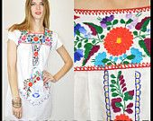 Vintage 70s mexican white oaxacan hand embroidered tunic festival womens mini dress. $48.00, via Etsy.