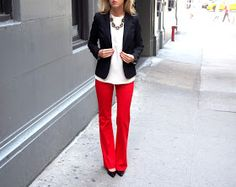 Outfits To Wear With Red Pants. Well, for most women wearing red pants comes down to just one thing; While the classic and most frequently seen style of trousers is the blue denim jeans, red is in a league all of its own. Young Professional, Professional Attire, Business Professional, Henri Bendel, Classy Cubicle, Corporate Attire, Business Attire, Business Casual, Business Formal