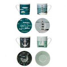Magpie Ahoy! Espresso Set of 4 Cups and Saucers