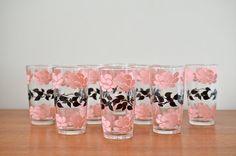 Set of 8 Vintage Midcentury HAZEL ATLAS drinking glasses with Pink & Black Roses