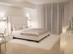 White bedroom - love the soft textures