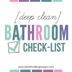 [deep clean] Bathroom Checklist, get your bathroom clean in no time at all with this free printable guide to cleaning. Simple step-by-step guide.