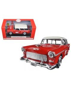 1955 Chevrolet Nomad Coca Cola with 2 bottle cases and metal handcart 1/24 Diecast Model Car by Motorcity Classics