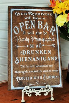 Open Bar warning rustic sign The sign is made from 1/4, 1/2 birch plywood the stained or painted in the colors you pick. COLORS: Dark Walnut,