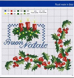 šema za  vez Xmas Cross Stitch, Cross Stitch Borders, Cross Stitch Flowers, Cross Stitch Charts, Cross Stitch Designs, Cross Stitching, Cross Stitch Embroidery, Cross Stitch Patterns, Hand Embroidery Designs