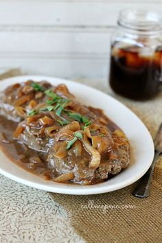 Hamburger Steak with Onions Brown Gravy Recipe is the perfect comfort food. Another way to serve up some pre-made homemade hamburger patties out of the freezer! Ground Beef Recipes, Pork Recipes, Cooking Recipes, Beef Dishes, Food Dishes, Main Dishes, Steak And Onions, Comfort Food, Dinner Recipes