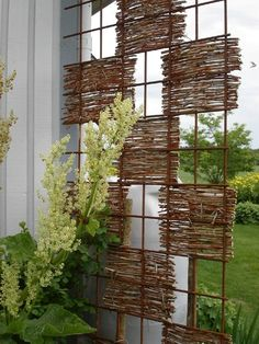 Privacy Screen with Woven Stick Squares
