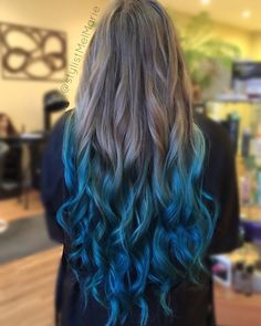 Hair painted, toned then went on to color melt to create this ombre using custom mixed blues and teals.  Solaris clay based lightener, TIGI True Lights lightener, Redken Shades EQ, Joico, Kenra Creative, Olaplex and EmBee were all up in the mix!