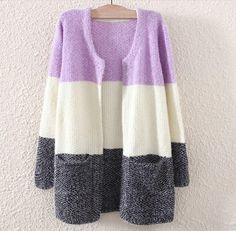 Loose Stitching Stripes Women Cardigan - Daisy Dress For Less Longline Cardigan, Dresses For Less, All Things Purple, Nice Things, Outerwear Women, Cardigans For Women, Fashion Pictures, Clothing Items, Dress To Impress