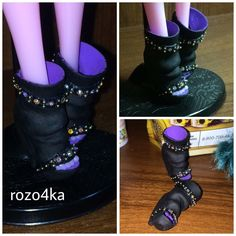 Роза Киреева  Hand made shoes for Monster High dolls #monsterhigh #shoes #rockstyle #rhinestones #black #handmade