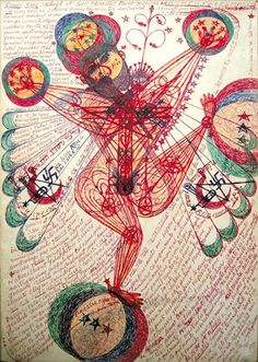 The enigmatic Croatian #outsiderartist #JankoDomsic created #drawings with colour pencils, ballpoint pens and felt-tip pens. Very little is known about the life of Domsic except that he lived and died in Paris and may have spent time in a prison.