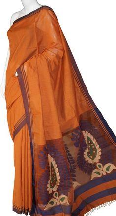 Rust Bengal Cotton Silk Saree with Blouse