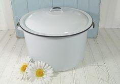 Cooking Grandma's Stew  Black on White EnamelWare by DivineOrders