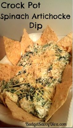 Crockpot Spinach Artichoke Dip - Click image to find more Food & Drink Pinterest pins