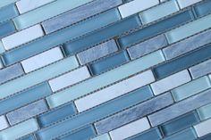 Anatolia Bliss Waterfall Glass and Stone Random Strip Mosaic Tiles-Backsplash #RockyPointTile