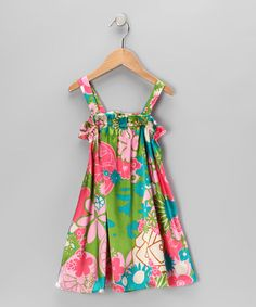 Take a look at this Pink & Green Floral Swing Dress - Toddler & Girls by Moo Boo's on #zulily today!