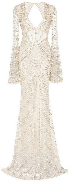 Naeem Khan Metallic Beaded V-Front Gown ($10,990)