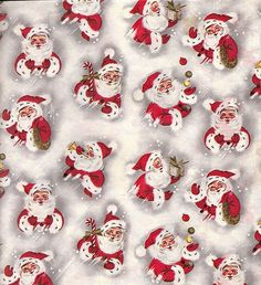 vintage christmas wrapping paper with Santas | Flickr - Photo Sharing!