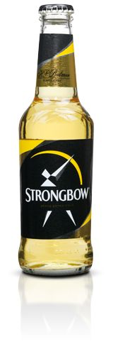 """Strongbow Cider, named after an English Knight, is produced in Hereford England by Bulmers and it`s the most popular cider in the world. Strongbow is the only cider accredited by the Royal House of Great Britain through a """"Royal Warrant of Appointment """". Cider is a soft drink made from apples and it tastes like sparkling dry wine. Strongbow should be consumed very well cooled or in combination with ice."""