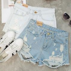 """Item Type: Shorts Material: Denim Pattern:Solid Color Style: Fashion Color: Gray, Black, Dark Blue, Light Blue, White Size: XS (US size) Bust: 31-33"""", Waist: 23-25"""", Hips: 33-35"""" S (US size) Bust: 33-"""