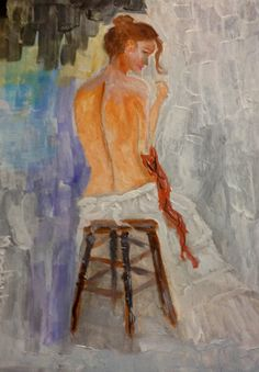 Draft sitting Woman  Oil over canvas