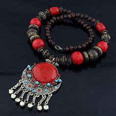 Bohemian Beads Large Pendant Necklace