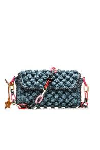 TEAL RAFFIA SHOULDER BAG