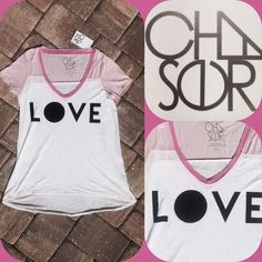 "✨HP✨CHASER PINK & WHITE V-NECK LOVE TOP ""LOVE"", deep V-neck, hi-low hem, 50/50 cotton/polyester, NWT✨HOST PICK by @tinated✨ Chaser Tops"
