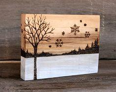Winter Tree with Snowflakes - Art Block - Wood burning