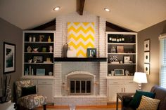 white brick fireplace from feldmeyers.blogspot.com