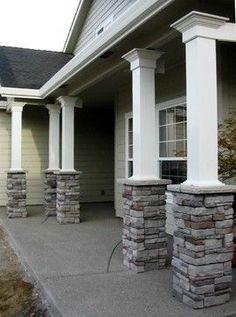 Get inspiration for back and front porch ideas. See pictures and get front porch design ideas, including tips for designing a minimalist porch for you. Front Porch Pillars, Front Porch Design, Front Porches, House With Porch, House Front, House Columns, Veranda Design, Porch Posts, Deck Posts