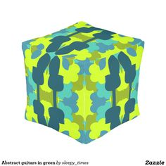 Abstract #guitars in green #outdoor #pouf. Perfect for your #garden or #porch