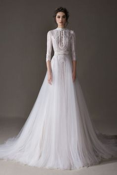 Bridal Collection Norse ERSA Atelier You will find different rumors about the real history of the wedding dress; Princess Wedding Dresses, Dream Wedding Dresses, Bridal Dresses, Wedding Dress With Pearls, Long Sleeved Wedding Dresses, Lace Wedding, Hijab Wedding Dresses, Wedding Dress Sleeves, Dress Lace