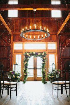 wedding ceremony indoor setup barn at lang farm vt wedding photography