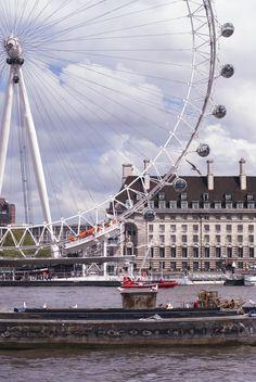 London Eye on the Thames River. Sunny. http://500px.com/katko