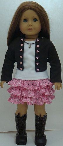 Pink And Brown Skirt, Cropped Jacket And T-Shirt For American Girl Or Similar 18-Inch Dolls By Angel Kisses Boutique. $34.99, via Etsy.