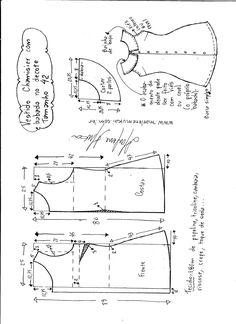 Esquema de modelagem de vestido chamesier com babado tamanho 42.