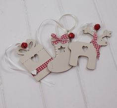 Wooden Christmas gift tags that also are ornaments