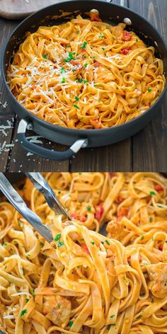 CHICKEN FETTUCCINE This elegant and creamy Pasta with Chicken and Roasted Pepper Sauce is made in under 30 minutes and requires just 6 ingredients. Your guests and family members will love it! Make this easy pasta dinner today! Easy Dinner Recipes, Easy Meals, Easy Snacks, Dinner Recipe For 6, Dessert Recipes, Chicken Fettuccine, Chicken Alfredo, Penne Alfredo, Shrimp Pasta