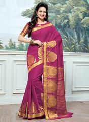 Design and style and pattern would be at the peak of your splendor when you attire this magenta cotton silk traditional saree. The enticing woven work a substantial characteristic of this attire. Traditional Sarees, Traditional Outfits, Cotton Saree, Cotton Silk, Indian Dresses, Indian Outfits, Lehenga Gown, Stylish Sarees, Casual Saree