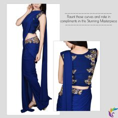 There's Stylish and then There's This Cocktail Saree. Rake in the Complements, Thank Us Later!  Product Description  Navy Blue Cocktail Saree Round Neck Sleeveless Attached Cups Zardozi Embroidery