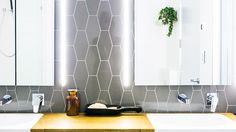 The Block Glasshouse The Block Glasshouse, Picture Tiles, Laundry In Bathroom, Glass House, Beautiful Interiors, Home And Family, Lights, Interior Design, Luxury