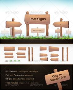 Clean and slighlty cartoonish wood post signs. 100 vectors and scalable to any size. The pack comes with each piece of the signs