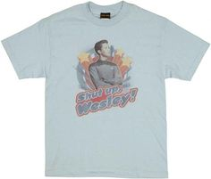 Star Trek Wesley T Shirt You remember him best as Dr. Crusher's son Wesley Crusher from the Star Trek Next Generation series! Printed against a light blue t-shirt is the picture of Wesley just like he look on the show…