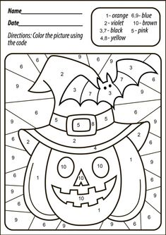 Free Halloween Pumpkin Color by Number/Letter for Preschool Creepy Halloween Decorations, Halloween Pumpkins, Halloween Party Decor, Halloween Kids, Couple Halloween Costumes, Halloween 2020, Spirit Halloween, Halloween Worksheets, Halloween Activities