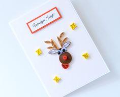Śmieszna ręcznie robiona kartka świąteczna renifer quilling Quilling, Paper, Bedspreads, Quilting, Paper Quilling