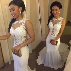 Sexy Long Prom Dress Chiffon with Lace Appliques