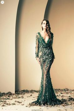 Designer Evening Dresses 2014 Ziad Nakad Green Evening Gowns With Long Sleeve Mermaid Sheer Prom Dresses Deep V Neck Beaded Appliqued Tulle Evening Dresses Glasgow From Life_shop, $196.86| Dhgate.Com
